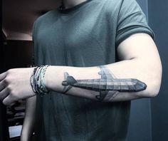 Geometric Airplane Tattoo by tattooist_hyera