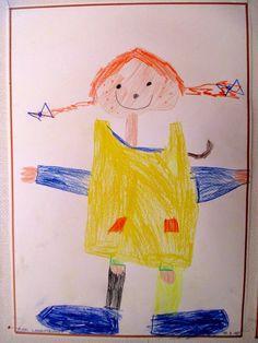 """Pippi Langstrumpf basteln und zeichnen im Kindergarten Was so ein einfacher Strich als """"Rahmen"""" so ausmacht"""