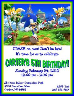 Sonic the Hedgehog Birthday Invitation front Sonic the hedgehog