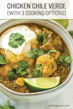 Chicken Chile Verde is a unique one-pot meal that's loaded with flavors. This recipe covers 3 ways to cook it, depending on the equipment you have. It's made with traditional Chili Verde ingredients such as tomatillos, anaheim, poblano, and chile peppers. You'll be amazed at how easy this authentic Mexican dish is. via @platingpixels