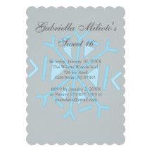 Scalloped Snowflake Sweet 16 Birthday Invitation