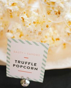 Summer's sisters and brother-in-law worked hard to create some of the guest of honor's favorite food, including truffle popcorn, arugula salad, Parmesan crisps, and Neapolitan flatbread.