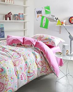 Lt Twin Size 100% Cotton 3-pieces Blue Green Yellow Pink Paisley White for Kids Girls Boys Toddler Prints Duvet Cover Set/bed Linens/bed Sheet Sets/bedclothes/bedding Sets/bed Sets/bed Covers Bed in a Bag, http://www.amazon.com/dp/B00XHMAD7S/ref=cm_sw_r_pi_awdm_8knYvb08VAMPS