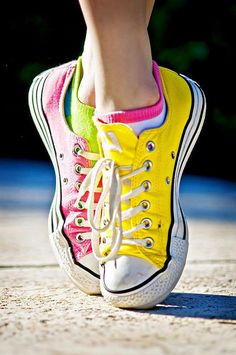 pink and yellow converse
