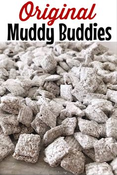 The original Muddy Buddies recipe that is perfect for any holiday gathering like the of July, Halloween, Christmas, Valentine's Day, and Easter! snacks Holiday Muddy Buddies Recipe - The Mommy Mouse Clubhouse Puppy Chow Recipes, Snack Mix Recipes, Candy Recipes, Holiday Recipes, Recipe Puppy, Snack Mixes, Christmas Recipes, Chex Recipes, Dessert Recipes