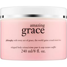 philosophy Amazing Grace Whipped Body Crème ($33) ❤ liked on Polyvore featuring beauty products, bath & body products, body moisturizers, fillers, beauty, makeup, pink fillers e body moisturizer