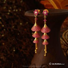 Gold Jhumka Designs from Josalukkas ~ South India Jewels Gold Jhumka Earrings, Jewelry Design Earrings, Gold Earrings Designs, Gold Jewellery Design, Gold Jewelry, Handmade Jewellery, Diamond Earrings, Gold Designs, Ruby Earrings
