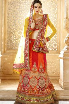Orange & Red Raw Silk Semi Stitch Wedding Lehenga