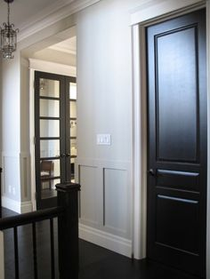 Revere Pewter with black interior doors. Love black interior doors with white trim Painted Interior Doors, Black Interior Doors, Interior Paint, Interior Design, Painted Doors, Interior Door Styles, Wooden Doors, Dark Doors, Room Doors
