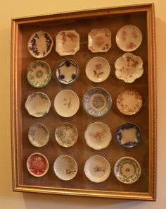 salt bowls - love the framed collection..... would also be cute with butter pats!