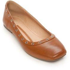 New Directions Cognac Riley Grommet Flat - Women's