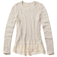 Hollister Lace Hem Pullover Sweater ($20) ❤ liked on Polyvore featuring tops, sweaters, hollister, oatmeal, crew-neck sweaters, lace top, pink lace sweater, lace sweater and pullover sweater