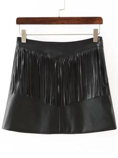 Black Tassel PU Skirt 18.20