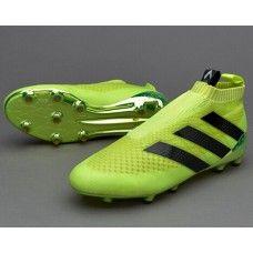 new styles 588ac 7010a Cool Botas De Futbol Adidas Niños ACE 16+ Purecontrol FG AG Para Solar  Amarillo Negro Plateado