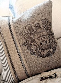 french emblem burlap and ticking
