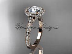 "Unique 14kt rose gold diamond wedding ring, engagement ring, ""Forever One"" Moissanite VD10074"