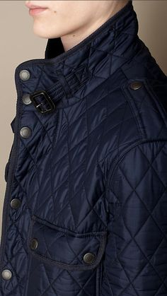 Navy Diamond Quilted Field Jacket - Image 3