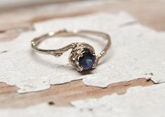 14kt Gold Naples Sapphire Engagement Ring - 14kt Gold and Blue Sapphire Customizable Twig Engagement Ring