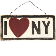 I Heart NY Wooden Sign ($75) ❤ liked on Polyvore featuring home, home decor, wall art, wood home decor, retro home decor, wooden signs, retro signs and heart shaped signs