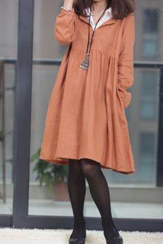 Double layer collar linen dress knee length dress