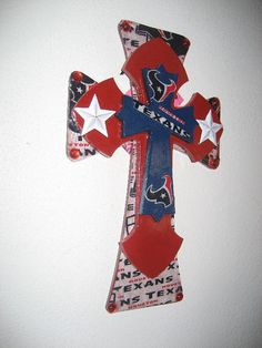 Wall Cross for The Houston Texan Fan by cthorses66 on Etsy, $25.00.....i am soooo making this one, rangers, astros && green bay!!