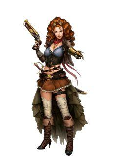 Female Half-Elf Gunslinger - Pathfinder PFRPG DND D&D d20 fantasy