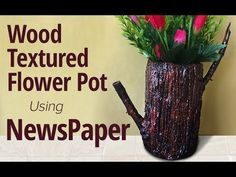 In this video we will show you how to make a paper vase sing newspaper. This newspaper flower vase is having wooden texture and that looks so realistic . Paper Flower Vase, Paper Vase, Paper Flowers Diy, Flower Vases, Flower Pots, Newspaper Flowers, Newspaper Paper, Newspaper Crafts, Plastic Bottle Crafts