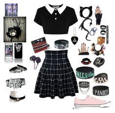 """""""Alexianna: first day at freak school ✌️"""" by unisaur81 on Polyvore featuring Converse, Kill Star, Venessa Arizaga and MCM"""