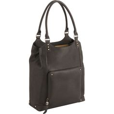 Stylish laptop totes for women are all the rage. This bucket-style bag by Solo is in a neutral and rich espresso color and also features a zip-down front pocket to organize those items you need to get to fast. It holds most 16-inch laptops.