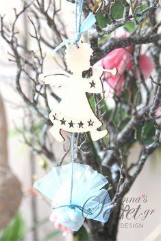 Μπομπονιέρα χειροποίητο κρεμαστό Χριστουγεννιάτικο στολίδι ξύλινο αγγελάκι., annassecret, Χειροποιητες μπομπονιερες γαμου, Χειροποιητες μπομπονιερες βαπτισης
