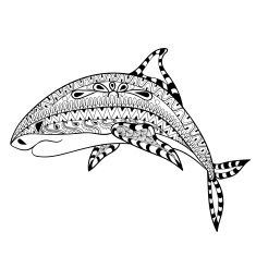 Zentangle Shark Totem For Adult Anti Stress Coloring Page Art Therapy Illustration In Doodle Style Vector Monochrome Sketch With High