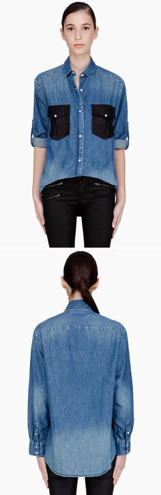 leather+denim shirt. IRO