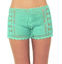 Mint crochet shorts Beach Bikini Shorts by WomensScarvesTrend