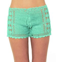 Mint crochet shorts Beach Bikini Shorts by WomensScarvesTrend