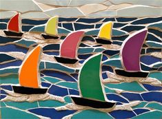 #mosaic #regatta #boat #sail #sailing #sea #coast #art #waves #wave #mosaics #wallart