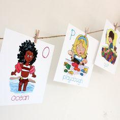 Alphabet Wall Cards - Kids Wall art, School Room wall art, Preschool Decor, Nursery Art