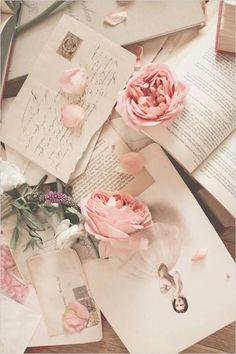 Ana Rosa ~ Vintage Wedding Pics & Postcards with Delicate Pink Roses