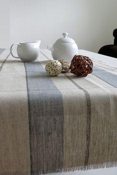 Hand Made Table Runner - Irish Linen - Plaid Tan and Blue
