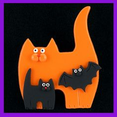 Halloween Cat Kitten & Bat Pin