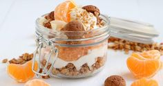 Ontbijt trifle met speculaas granola