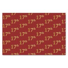 Red Faux Gold 17th (Seventeenth) Event Tissue Paper - craft supplies diy custom design supply special