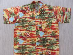 ba9604b9 Hawaiian Shirt PINEAPPLE CONNECTION Wind Surfer Aloha Shirt Tropical Beach  Wear Party Shirt Vintage Mens Camp - M - Oahu Lew's Shirt Shack