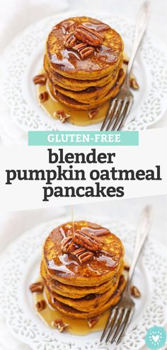Blender Pumpkin Oatmeal Pancakes - These healthy pumpkin pancakes are gluten & dairy free. SO EASY, since they're made in the blender! It's the BEST pumpkin pancakes recipe! // blender pancakes // pumpkin pancakes // pumpkin oatmeal pancakes // gluten free pumpkin pancakes #glutenfree #dairyfree #pancakes #pumpkin #blenderpancakes #pumpkinpancakes #oatmealpancakes Gluten Free Recipes For Breakfast, Gluten Free Breakfasts, Gluten Free Desserts, Paleo Breakfast, Gf Recipes, Pancake Recipes, Family Recipes, Pumpkin Recipes, Dairy Free Halloween Recipes