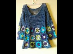 granny square crochet dress with long sleeve Point Granny Au Crochet, Crochet Cardigan Pattern, Crochet Tunic, Crochet Jacket, Crochet Clothes, Crochet Ideas, Crochet Tops, Lace Jacket, Crochet Dresses