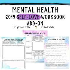 Get the 2018 Self-Love Workbook and Planner for all of your self-care needs. Plan out your self-care every single day and cultivate a routine! Mental Health Activities, Mental Health Therapy, Group Activities, Mental Health Journal, Mental Health Counseling, Counseling Activities, Improve Mental Health, Self Care Worksheets, Mental Health