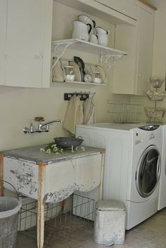 If I don't use my old wash tub for a utility sink in the basement I should use it in my future Mt. Cottage. Faded Charm: ~Laundry Room Reveal~