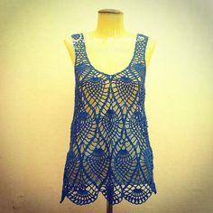 louca por linhas - crochet e patchwork: Regata Abacaxi