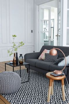 copper accents with gray furniture