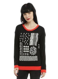 Twenty One Pilots Red Trim Girls Sweater, BLACK