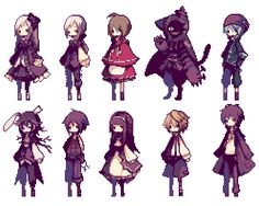 rpg game I made this pixel game alice mare free horror adventure game ohoh they are so cute ; Sprites, Anime Pixel Art, Anime Art, Character Inspiration, Character Art, How To Pixel Art, Modele Pixel, Alice Mare, 2d Game Art